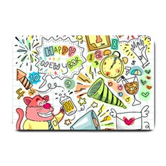 Doodle New Year Party Celebration Small Doormat  by Celenk