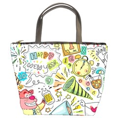 Doodle New Year Party Celebration Bucket Bags