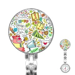 Doodle New Year Party Celebration Stainless Steel Nurses Watch by Celenk