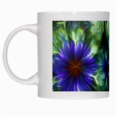 Fractal Painting Blue Floral White Mugs