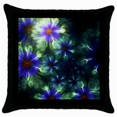Fractal Painting Blue Floral Throw Pillow Case (black)