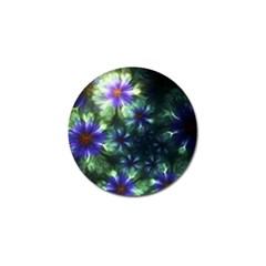 Fractal Painting Blue Floral Golf Ball Marker (10 Pack)