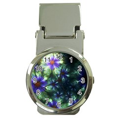 Fractal Painting Blue Floral Money Clip Watches by Celenk