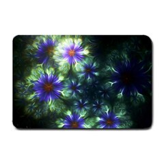 Fractal Painting Blue Floral Small Doormat  by Celenk