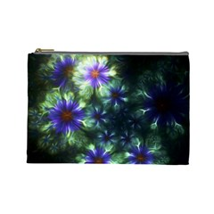 Fractal Painting Blue Floral Cosmetic Bag (large)  by Celenk