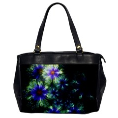Fractal Painting Blue Floral Office Handbags by Celenk