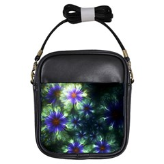 Fractal Painting Blue Floral Girls Sling Bags by Celenk