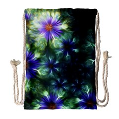 Fractal Painting Blue Floral Drawstring Bag (large) by Celenk