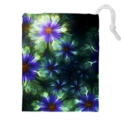 Fractal Painting Blue Floral Drawstring Pouches (xxl) by Celenk