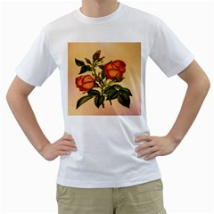 Vintage Flowers Floral Men s T Shirt (white) (two Sided)