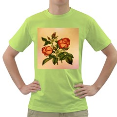 Vintage Flowers Floral Green T Shirt