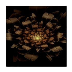 Fractal Flower Floral Bloom Brown Tile Coasters by Celenk