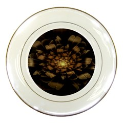 Fractal Flower Floral Bloom Brown Porcelain Plates by Celenk