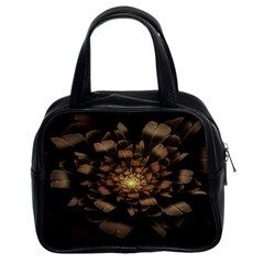 Fractal Flower Floral Bloom Brown Classic Handbags (2 Sides) by Celenk