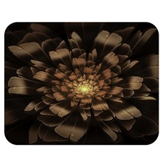 Fractal Flower Floral Bloom Brown Double Sided Flano Blanket (medium)  by Celenk