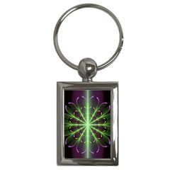 Fractal Purple Lime Pattern Key Chains (rectangle)