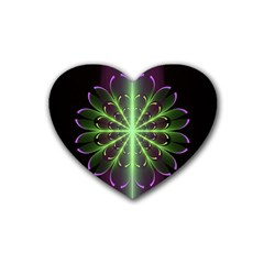 Fractal Purple Lime Pattern Rubber Coaster (heart)