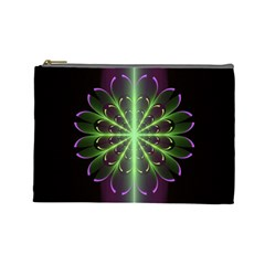 Fractal Purple Lime Pattern Cosmetic Bag (large)