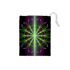 Fractal Purple Lime Pattern Drawstring Pouches (small)  by Celenk