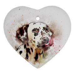 Dog Portrait Pet Art Abstract Ornament (heart)