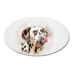 Dog Portrait Pet Art Abstract Oval Magnet by Celenk
