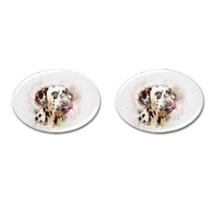 Dog Portrait Pet Art Abstract Cufflinks (oval) by Celenk