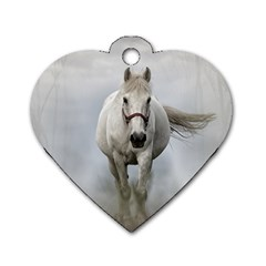 Horse Mammal White Horse Animal Dog Tag Heart (two Sides) by Celenk