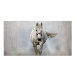 Horse Mammal White Horse Animal Satin Shawl by Celenk