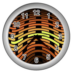 Fractal Orange Texture Waves Wall Clocks (silver)  by Celenk