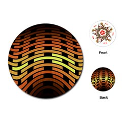 Fractal Orange Texture Waves Playing Cards (round)