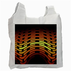 Fractal Orange Texture Waves Recycle Bag (two Side)  by Celenk