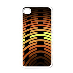 Fractal Orange Texture Waves Apple Iphone 4 Case (white) by Celenk