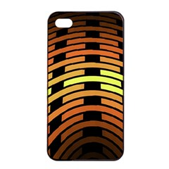 Fractal Orange Texture Waves Apple Iphone 4/4s Seamless Case (black) by Celenk