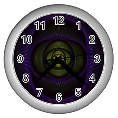 Fractal Blue Eye Fantasy 3d Wall Clocks (silver)  by Celenk