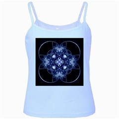 Fractal Blue Denim Stained Glass Baby Blue Spaghetti Tank by Celenk