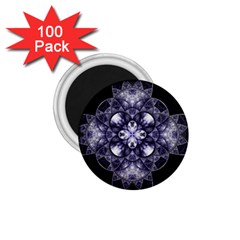 Fractal Blue Denim Stained Glass 1 75  Magnets (100 Pack)  by Celenk
