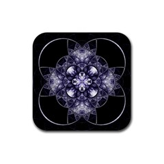 Fractal Blue Denim Stained Glass Rubber Coaster (square)  by Celenk