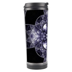 Fractal Blue Denim Stained Glass Travel Tumbler by Celenk