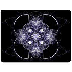 Fractal Blue Denim Stained Glass Double Sided Fleece Blanket (large)  by Celenk