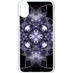 Fractal Blue Denim Stained Glass Apple Iphone X Seamless Case (white)