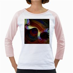 Fractal Colorful Rainbow Flowing Girly Raglans by Celenk