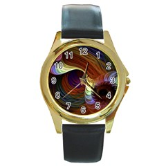 Fractal Colorful Rainbow Flowing Round Gold Metal Watch