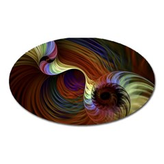 Fractal Colorful Rainbow Flowing Oval Magnet by Celenk