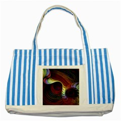Fractal Colorful Rainbow Flowing Striped Blue Tote Bag