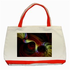 Fractal Colorful Rainbow Flowing Classic Tote Bag (red) by Celenk