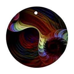 Fractal Colorful Rainbow Flowing Round Ornament (two Sides) by Celenk