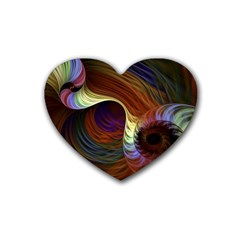 Fractal Colorful Rainbow Flowing Rubber Coaster (heart)