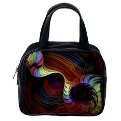 Fractal Colorful Rainbow Flowing Classic Handbags (one Side) by Celenk