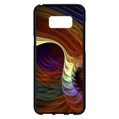Fractal Colorful Rainbow Flowing Samsung Galaxy S8 Plus Black Seamless Case by Celenk