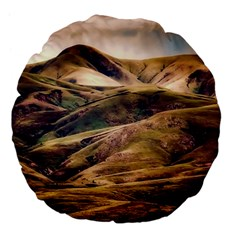 Iceland Mountains Sky Clouds Large 18  Premium Flano Round Cushions by Celenk